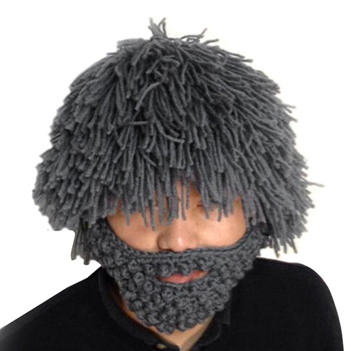 Vogue Wig Beard Hobo Hat Sloppy Caveman Handmade Knitted Hat - Grey