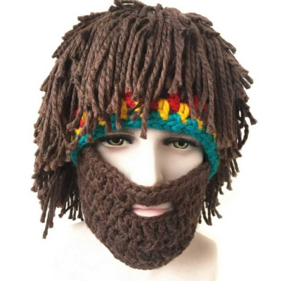 Vogue Wig Beard Hobo Hat Sloppy Caveman Handmade Knitted Hat - Brown