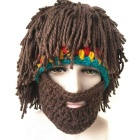 Vogue Perücke Bart Hobo Hut Sloppy Caveman Handgefertigte Strickmütze - Braun