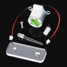 Mini Hand Crank Dynamo Generator DIY Kit Educational Toy w/ Green Light LED - Transparent + Silver