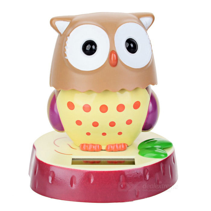 Solar Powered 180 Degrees Rotation Owl Toy - Khaki + White