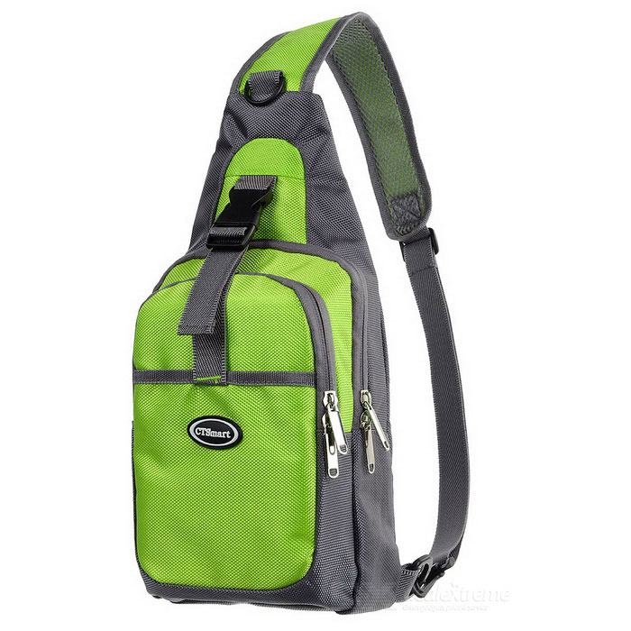 CTSmart Outdoor Cycling Travel Hiking Sling Chest Pack Messenger Bag Backpack - Green + Grey