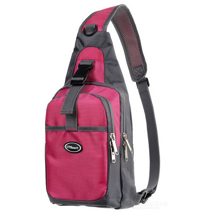 CTSmart Outdoor Cycling Travel Hiking Sling Chest Pack Messenger Bag Backpack - Deep Pink + GreyBike Bags<br>Form  ColorDeep Pink + GreyQuantity1 DX.PCM.Model.AttributeModel.UnitMaterial1680D PUTypeOthers,Messenger bagCapacity28 DX.PCM.Model.AttributeModel.UnitWaterproofYesGenderUnisexBest UseCycling,Bike commuting &amp; touringCertificationCEPacking List1 x Messenger bag<br>