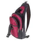 CTSmart Outdoor Cycling Travel Hiking Sling Chest Pack Messenger Bag Backpack - Deep Pink + Grey