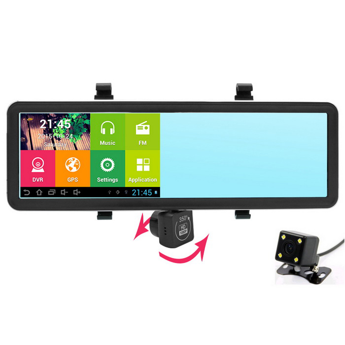 "New 5"" HD Android Rearview Mirror GPS Navigator 1080P Car DVR w/ Dual cameras WIFI AVIN FM EU Map"