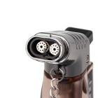 Fashion Transparent Windproof Gas Lighter - Brown + Silver Black