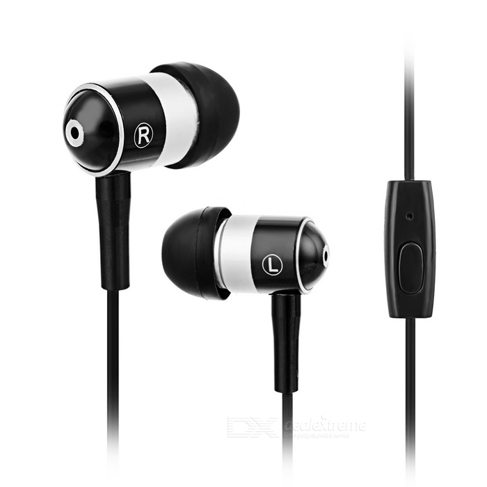 3.5mm In-Ear Earphones w/ Wire Control & Mic - Black + Silver