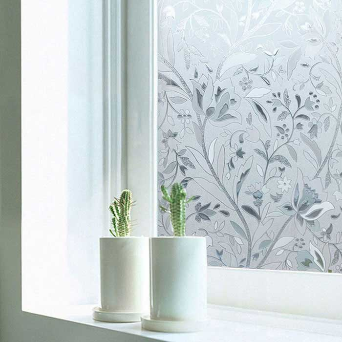 Non adhesive frosted window film static cling privacy for Decoration porte adhesive