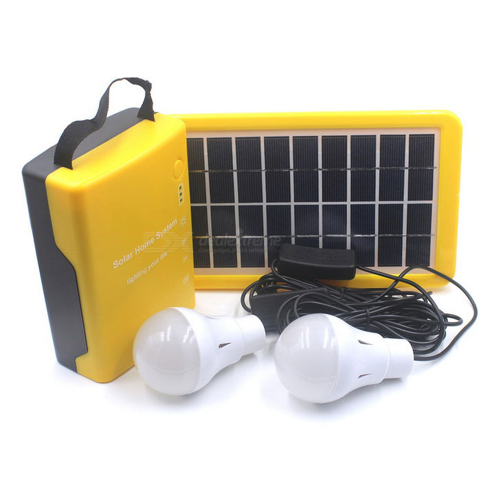 D007 Multi-functional 6V 20,000mAh Solar Power Home System w/ LED Bulbs - Yellow + Black