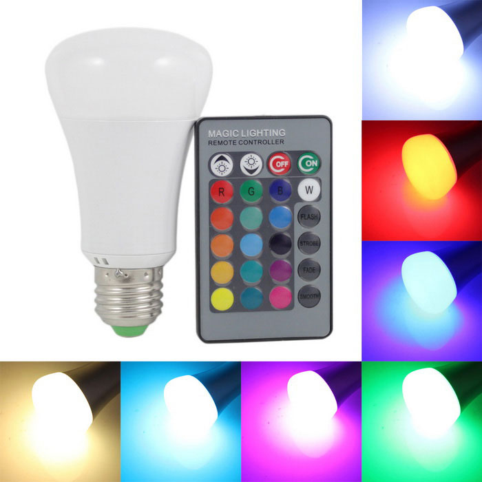KINFIRE E27 10W 800lm LED RGB Light Bulb + 24 Key Infrared Remote Controller - White (AC 85~265V)