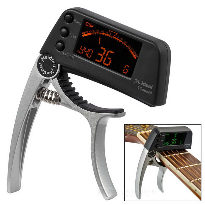 "Meideal TCapo20 1.5"" LCD Capo & Tuner for Acoustic / Electric Guitar & Bass - Silver White + Black"