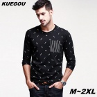 KUEGOU Men's Leaf Pattern Long Sleeve Round Neck T-Shirt With Black
