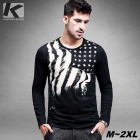 KUEGOU Men's Stars And Stripes Flag Pattern Long Sleeve T-Shirt With Black