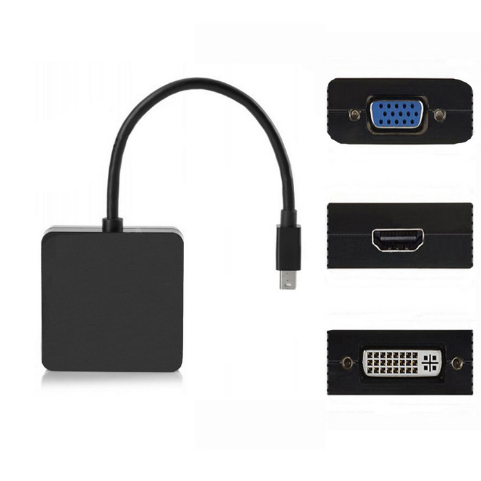 Plaza Mini DP Thunderbolt a DVI + VGA + adaptador HDTV HDMI para MacBook - Negro