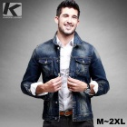 KUEGOU Men's Denim Long Sleeve Jacket - Dark Bule (XXL)