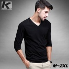 KUEGOU Men's Long Sleeve T-Shirt w/ V-Collar - Black (XL)