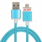 Magnetic Detachable Transformable Micro USB Braided Charging Data Cable for Android Phone - Blue