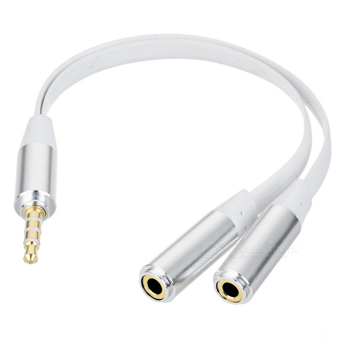 Universal 1-to-2 Flat 3.5mm Audio Cable for Cellphone / Computer - White + Silver
