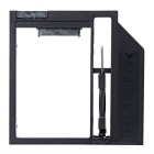 "Universal 9mm DVD/CD-ROM Optical Bay 2.5"" SATA 3.0 SSD HDD Caddy Holder - Black"
