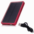 Aluminum Alloy Material 5V 2.1A 4000mAh Solar Charger Mobile Power Bank w/ LED - Silver + Red