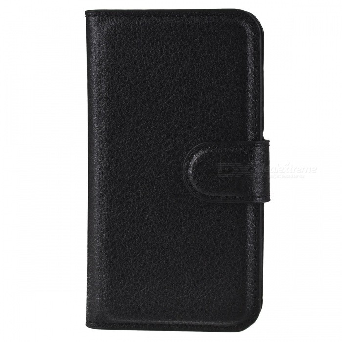 Litchi Grain PU Leather Flip Wallet Case for IPHONE 4 / 4S - Black