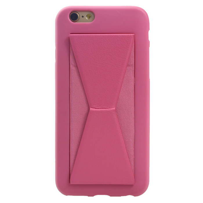 MO.MAT Soft TPU Back Cover Case for IPHONE 6 / 6S w/ Built-in Magnet Kickstand - Dark Pink