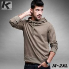 KUEGOU Men's Longline Hoodie with High Neck