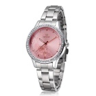 SKONE Peony Carved Watch Dial Premium Women's Business Quartz Watch - Silver + Red + Multicolor
