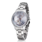 SKONE Peony Carved Watch Dial Premium Women's Business Quartz Watch - Silver + White + Multicolor