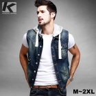 KUEGOU SJ-15018 Men's Slim Fit Denim Vest Waistcoat w/ Removable Hat - Blue (XXL)