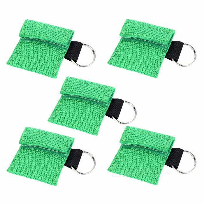CPR Life Key First Aid Check Valve Designed Disposable Breathing Face Masks - Grass Green (5PCS)