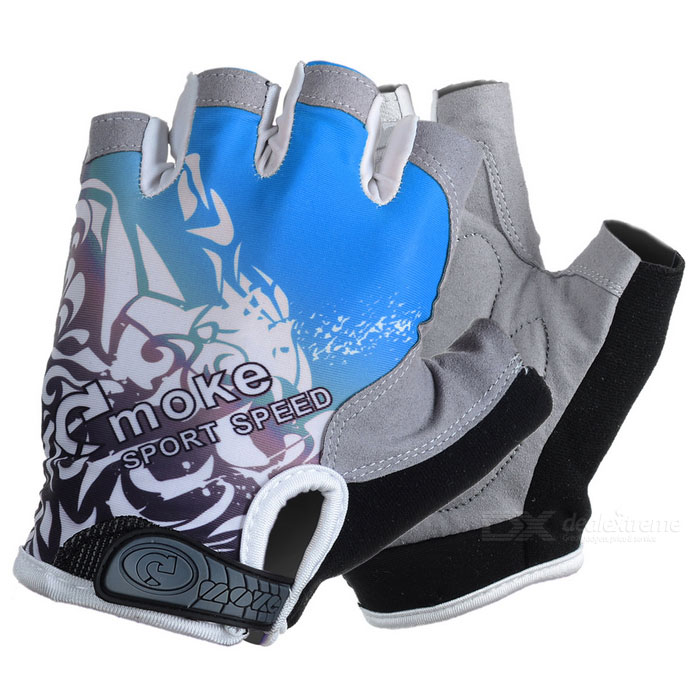 MOke Outdoor Cycling Riding Breathable Anti-Shock Half-Finger Gloves - Grey + Blue (L / Pair)