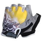 MOke Outdoor Cycling Riding Breathable Anti-Shock Half-Finger Gloves - Grey + Yellow (L / Pair)