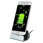 Double-Sided Micro USB 5Pin V8 Data Sync & Charging Dock Station for Android - Silver + Black