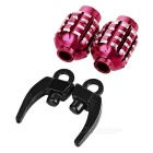 CTSmart Grenade Style Bike / Motorcycle Wheel Tire Tyre Valve Dust Cap Cover - Red + Black (2PCS)