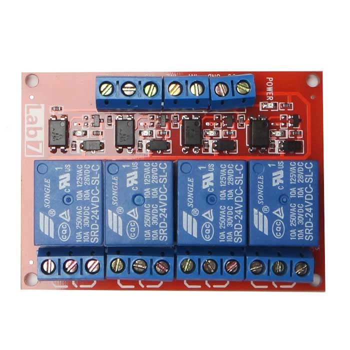 Produino 4-Channel 24V High Level Relay Module - Red + Blue