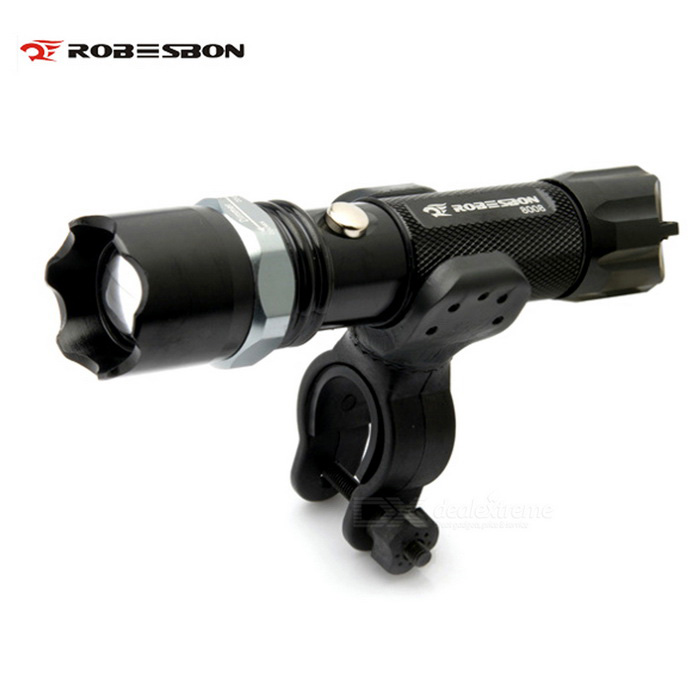 ROBESBON Rechargeable 3-Mode 220lm White Light LED Bicycle Light - Black