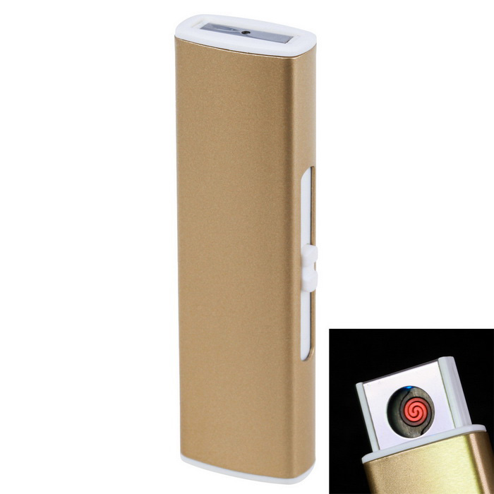 USB Rechargeable Arc Windproof Electronic Cigarette Lighter - Golden