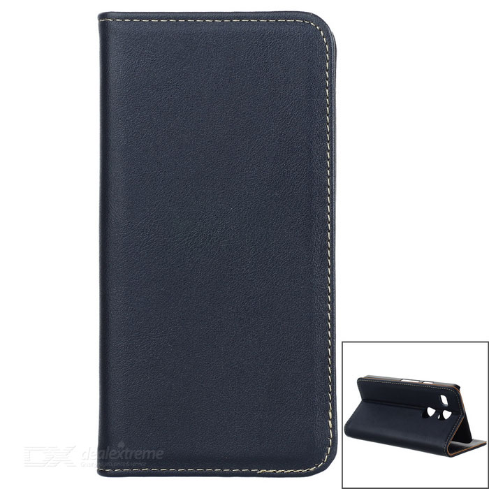 Flip Automatic Close Cow Split Leather Case w/ Stand for Google Nexus 5X / LG Nexus 5X - Dark Blue