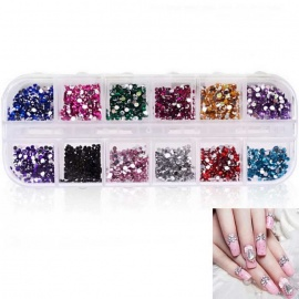 Creative Nail Stickers Sparkle Broken Drill (12 Colors)
