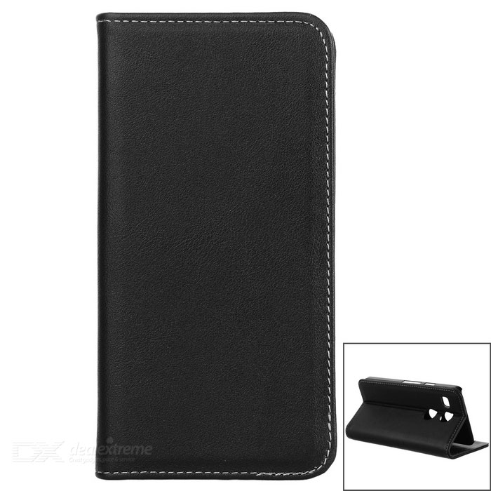 Flip Open Automatic Close Cow Split Leather Case w/ Stand for Google Nexus 5X / LG Nexus 5X - Black