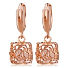 Xinguang Women's Fashion Popular Square Hollow Rose Style Earrings - Rose Gold (Pair)