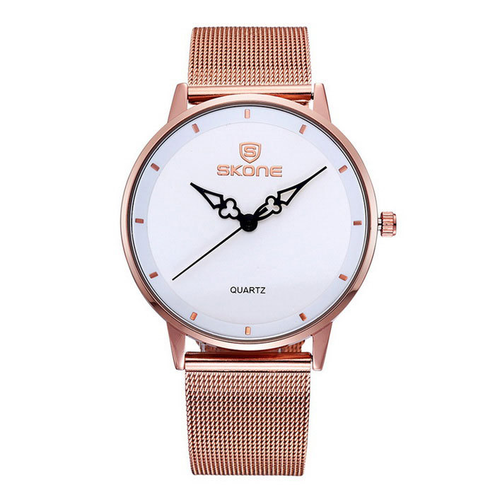 SKONE Womens Fashion Big Dial Waterproof Alloy Wristband Quartz WatchWomens Bracelet Watches<br>Form  ColorRose gold White Model272103Quantity1 pieceShade Of ColorGoldCasing MaterialAlloyWristband MaterialAlloySuitable forAdultsGenderMenStyleWrist WatchTypeFashion watchesDisplayAnalogDisplay Format12/24 hour time formatMovementQuartzWater ResistantFor daily wear. Suitable for everyday use. Wearable while water is being splashed but not under any pressure.Dial Diameter4.02 cmDial Thickness0.85 cmBand Width1.78 cmWristband Length24.7 cmBattery1xS377Packing List1 x Watch<br>