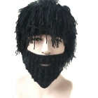 Vogue Wig Beard Hobo Hat Sloppy Caveman Handmade Knitted Hat - Black