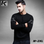 KUEGOU FW-6043 Men's Round Neck Pullover Sweatshirt T-Shirt Top - Black (XXL)