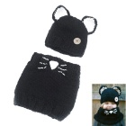 Pussy Cat Ear Style Children's Knitting Hat Scarf - Black