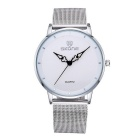 SKONE Women's Fashion Big Dial Waterproof Alloy Wristband Quartz Watch - Silver + White