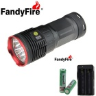 FandyFire 8-LED R8 8000lm 4-Mode Cool White Light Flashlight - Red + Grey (4*18650)