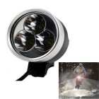 D50 1500lm 4-Mode White Bicycle Light & Headlamp w/ XM-L T6 - Black Grey (6 x 18650)