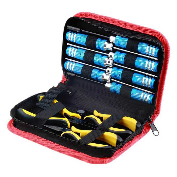 10-in-1 Tool Kit Screwdriver Pliers w/ Box for Helicopter Plane RC Model Car - Blue + Yellow